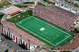 Aerial View of McMahon Stadium During Football Game, Calgary, Alberta