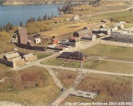 Aerial View of Buildings and Train at Heritage Park, Calgary, Alberta