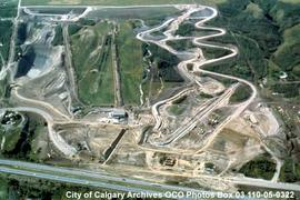 Aerial View of Construction, Canada Olympic Park, Calgary, Alberta
