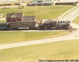 Aerial View of the Train and Train Station at Heritage Park, Calgary, Alberta