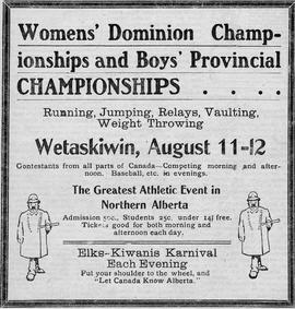 Free Press advertisement for the Women's Dominion Championships and the Boys' Provincial Champion...