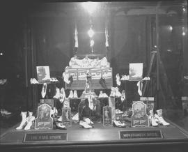"Montgomery Brothers window display for ""Fleet Foot"" shoes, Wetaskiwin, Alberta"
