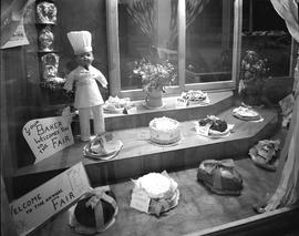 Hawkes' Bakery window display for the fair, Wetaskiwin, Alberta.