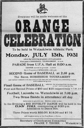 Orange Celebration, Wetaskiwin, Alberta.