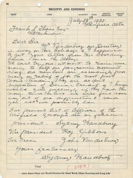 Correspondence from Sydney Handbury of the Winfield Group, Alberta
