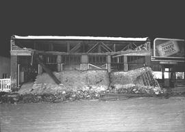 Collapse of Aboussafy & Sons' east side store front, Wetaskiwin, Alberta.