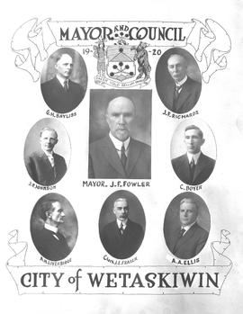 1920 Wetaskiwin City Council, collage of portraits, Wetaskiwin, Alberta.