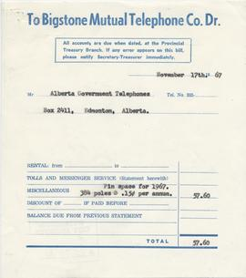 Invoice from the Bigstone Mutual Telephone Company
