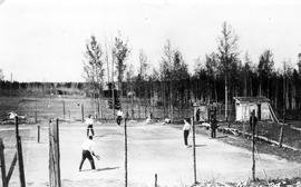 Tennis courts in the school yard, 7th Ave & 49th Street.