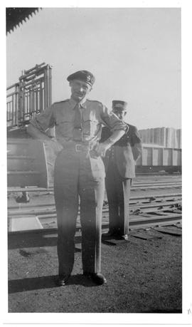General Sir B. Montgomery beside his private railway car, Edson, Alberta.