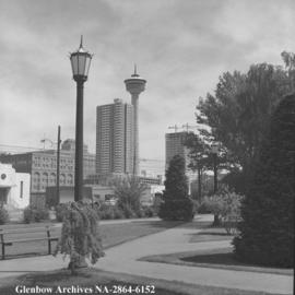 The success symbol of the Husky Tower [later renamed Calgary Tower], flanked by towers on Pallise...