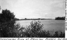 View of the Saskatchewan River at Pemmican Portage, Saskatchewan.