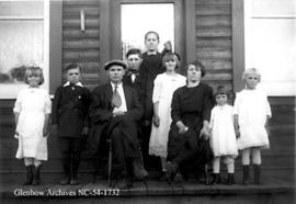 Family of nine, Crowsnest Pass area, Alberta.