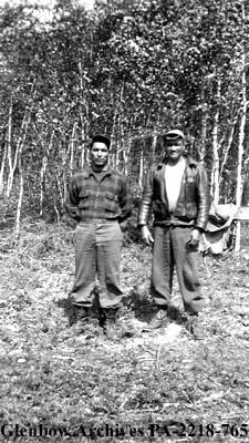 """Adam Eninew and J. P. Brady of La Ronge, Saskatchewan, at Peak Lake"", Saskatchewan."