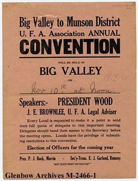 United Farmers of Alberta convention poster, Big Valley, Alberta.