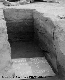 Trench through a housepit, Cluny Earthlodge Village archaeological excavation, Blackfoot (Siksika...