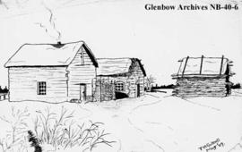 A sketch of Pepekwatooce, a Hudson's Bay Company (HBC) outpost, Keewatin district, Manitoba.