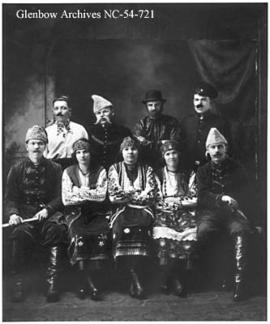Ukrainian amateur theatre group in costume, Blairmore, Alberta.