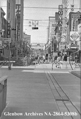 Completion of 8th Avenue Mall [Stephen Avenue] draws nearer, Calgary, Alberta.