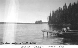 Boats docked at Pioneer Contractor's Camp on Daly Lake, Saskatchewan.
