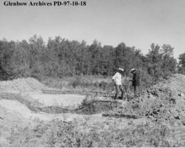 Placement of the palisade, Cluny Earthlodge Village archaeological excavation, Blackfoot (Siksika...