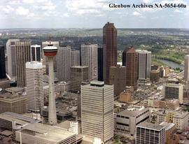 Aerial view of Petro-Canada buildings and surrounding area, Calgary, Alberta.
