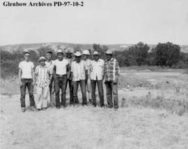 Field crew, Cluny Earthlodge Village archaeological excavation, Blackfoot (Siksika) reserve, sout...