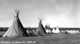 Tipis and tents at the Sun Dance camp, Blackfoot (Siksika) reserve, Alberta.
