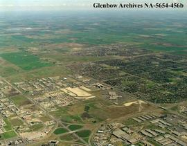 Aerial view of Sunridge Mall and surrounding area, Calgary, Alberta.