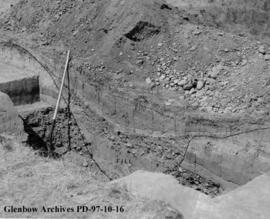 Cross-section through the trench, Cluny Earthlodge Village archaeological excavation, Blackfoot (...