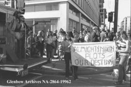 Around 80 people in Calgary, Alberta turned out to protest nuclear testing at Amchitka Island.