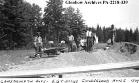 Workers at construction site of [Saskatchewan Government Telephones?] store, Cumberland House, Sa...