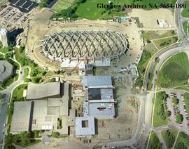 Aerial view of Olympic Oval under construction, Calgary, Alberta.