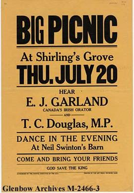 Poster for a picnic at Shirling's Grove (near Rumsey), Alberta.