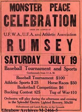 """Monster Peace Celebration"" poster, Rumsey, Alberta."