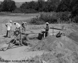 Earth shaking machine, Cluny Earthlodge Village archaeological excavation, Blackfoot (Siksika) re...