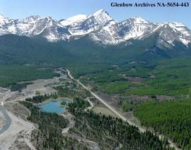 Aerial view of  Kananaskis area, Alberta.