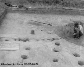 A housepit, Cluny Earthlodge Village archaeological excavation, Blackfoot (Siksika) reserve, sout...