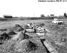 Archaeological excavations of fur trade post at Rocky Mountain House, Alberta.