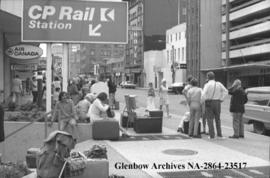 Passengers stranded by Canadian Pacific Railways strike, Calgary, Alberta.