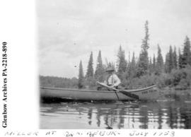 """George Miller at Oskikebuk"", [Lake or River?], Saskatchewan."