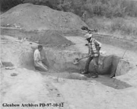 Starting a house excavation, Cluny Earthlodge Village archaeological excavation, Blackfoot (Siksi...