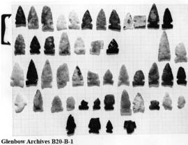 Artifacts - points from Luman Collection, Old Women's Buffalo Jump, near Cayley, Alberta.