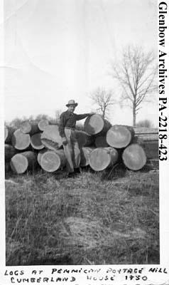 E. W. Dodds, standing beside logs at Pemmican Portage Mill, Cumberland House, Saskatchewan.