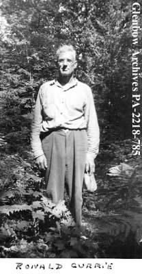 Ronald Currie of Carrying Place, Ontario, probably at O'Brien Portage, Ontario.
