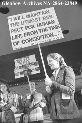 Pro-life movement pickets, Calgary, Alberta.