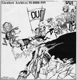 "[Quebec Premier Rene Levesque leads ""yes"" side to separation referendum.]"