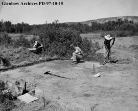 The trench, Cluny Earthlodge Village archaeological excavation, Blackfoot (Siksika) reserve, sout...