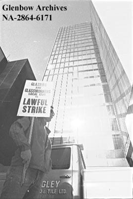 Strike for city glass workers, Calgary, Alberta.
