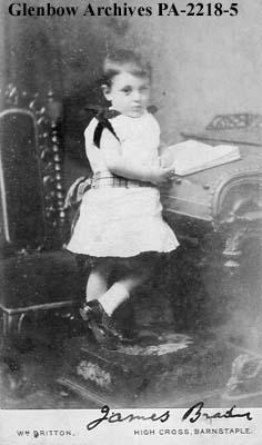 Portrait of James Brady as a youngster, Barnstaple, England.